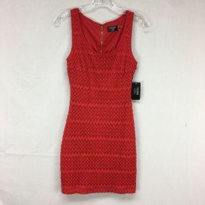 Guess Red Maria Sleeveless Scalloped Fringe Dress